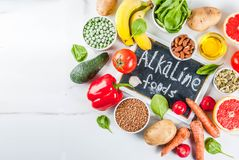 Alkaline diet ingredients. Healthy food background, trendy Alkaline diet products - fruits, vegetables, cereals, nuts. oils, white marble background top view Royalty Free Stock Images