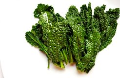 Alkaline, healthy food : kale leaves on white back Stock Photography