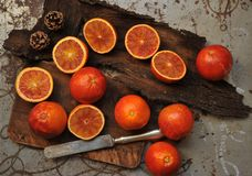 Alkaline, healthy food : red blood orange salad on a wooden board Royalty Free Stock Images