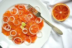 Alkaline, healthy vegan food : red blood orange salad Royalty Free Stock Photography
