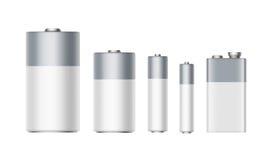 Alkalische Batterien AAA, AA, C, D, PP3, 9 Volt-Batterie Lizenzfreies Stockbild