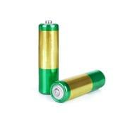 Alkalische Kadmiumchemikalie drei der Batterie AA lokalisiert auf weißem BAC Stockbilder