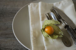 Alkekengi with silverware. Vintage silverware and dishware on old wooden table, country style in low natural light with an orange alkekengi Royalty Free Stock Image