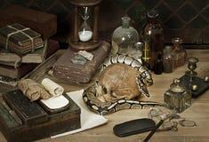 Alkemistilleben med den kungliga pytonormen royaltyfria bilder