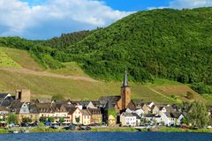 Alken town on Moselle River in Rhineland-Palatinate, Germany. Alken is one of the Moselle`s oldest villages stock images