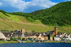Alken town on Moselle River in Rhineland-Palatinate, Germany. Stock Images