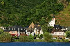 Alken town on Moselle River in Rhineland-Palatinate, Germany. Royalty Free Stock Image