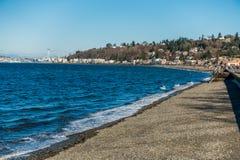 Alki海滩在西部西雅图,华盛顿 免版税库存照片