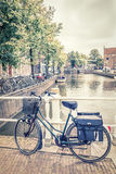 Alkmaar canal and bicycles, The Netherlands Royalty Free Stock Photo