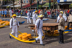 Alkmaar, Netherlands - April 28, 2017: Cheese carriers at tradit Stock Photos