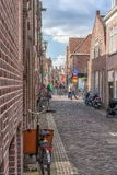 Alkmaar, the Netherlands - April 12, 2019: View from the streets of Alkmaar.  royalty free stock photography