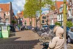 Alkmaar, the Netherlands - April 12, 2019: View from the streets of Alkmaar.  stock photo