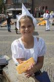 Alkmaar, Netherlands - July 20, 2018: Cheese girl, kaasmeisje, i Royalty Free Stock Image