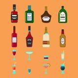 Alkoholów napojów i napojów ikony set Zdjęcia Royalty Free