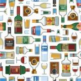 Alkoholów napojów koktajlu butelki lager szkieł wektoru bezszwowy deseniowy zbiornik pijąca różna ilustracja ilustracji