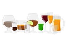 Alkoholów napoje ustawiają różną alkohol butelkę, szkła i Obraz Stock