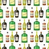 Alkoholów silni napoje w butelki kreskówki szkieł tła whisky koniaka brandy wina bezszwowym deseniowym wektorze royalty ilustracja