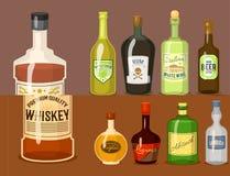 Alkoholów silni napoje w butelki kreskówki szkieł whisky koniaka brandy wina wektoru ilustraci ilustracji