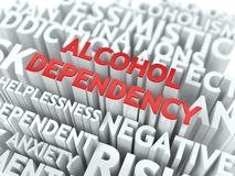Alkohol-Abhängigkeit. Das Wordcloud-Konzept. Stockbild