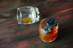 Alkohol bak hjulet Skadligt och farligt Arkivbilder