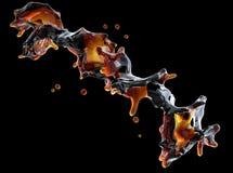 Alkohol cola, kaffeflytande plaskar med isolerade små droppar illustration 3d stock illustrationer