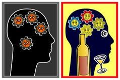 Alkohol, der die Stimmung beeinflußt lizenzfreie abbildung