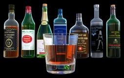 Alkohol drinkar, fyllaflaskor som isoleras Arkivbild