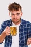 alkohol Facet w błękitnej koszula z piwem fotografia royalty free