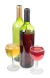 Alkohol filiżanki whit butelka Zdjęcie Stock