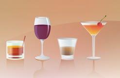 Alkohol-Getränk-Ikonen Stockfotos