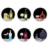 Alkohol-Getränke und Getränkevektor Stockbilder