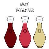 Alkohol-Getränkerot, Rose, Weißwein in einem Dekantiergefäß Stangensammlung Realistische Hand gezeichnete Vektor-Illustration der vektor abbildung