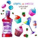 Alkohol i cukierki akwarela royalty ilustracja