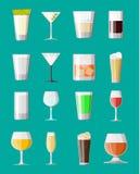 Alkohol pije kolekcję w szkłach royalty ilustracja