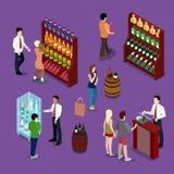 Alkohol-Shop-Innenraum mit Wein-Flaschen, Kunden und Verkäufer Isometrische flache Illustration 3d Stockbild