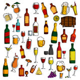 Alkohol trinkt, Cocktails mit Snackskizzenikone Lizenzfreie Stockfotografie