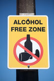 Alkohol wolnej strefy znak Fotografia Royalty Free
