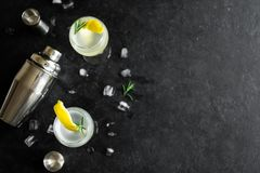 Alkoholcoctail med citronen Arkivfoto