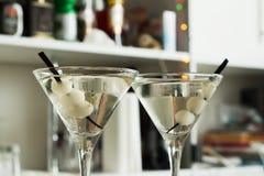 AlkoholcoctailGibson martini lök Arkivbild