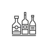 Alkoholdryckflaskor fodrar symbolen, översiktsvektortecknet, den linjära pictogramen som isoleras på vit stock illustrationer