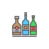 Alkoholdryckflaskor fodrar symbolen, det fyllda översiktsvektortecknet, den linjära färgrika pictogramen som isoleras på vit Royaltyfria Bilder