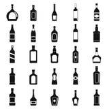Alkoholflaskor svart set för eps-symbolsjpeg Arkivfoton