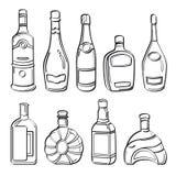 Alkoholflasksamling Arkivbild