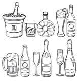 Alkoholflasksamling Arkivfoto
