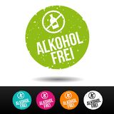 Alkoholfrei Stempel mit ikona - Eps10 Vektor guzik ilustracji
