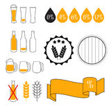 Alkoholgehalt-Niveau-Test, Vektor-Ikonensatz Stockfotografie