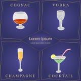 Alkoholgetränke Satz von Hand gezeichnete Weingläser in den goldenen Rahmen auf Blau Gläser mit Kognak, Wodka, Champagne und Cock Stockbild