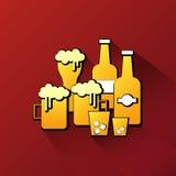 Alkoholglas- und -flaschenikone Lizenzfreie Stockfotos