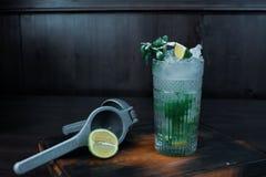 Alkoholiczny koktajl «Mojito «z lodowymi i świeżymi nowymi liśćmi z plasterkami wapno zdjęcia stock