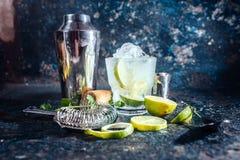 Alkoholiczny koktajl, orzeźwienie napój z ajerówką i wapno, słuzyć przy barem zdjęcia royalty free